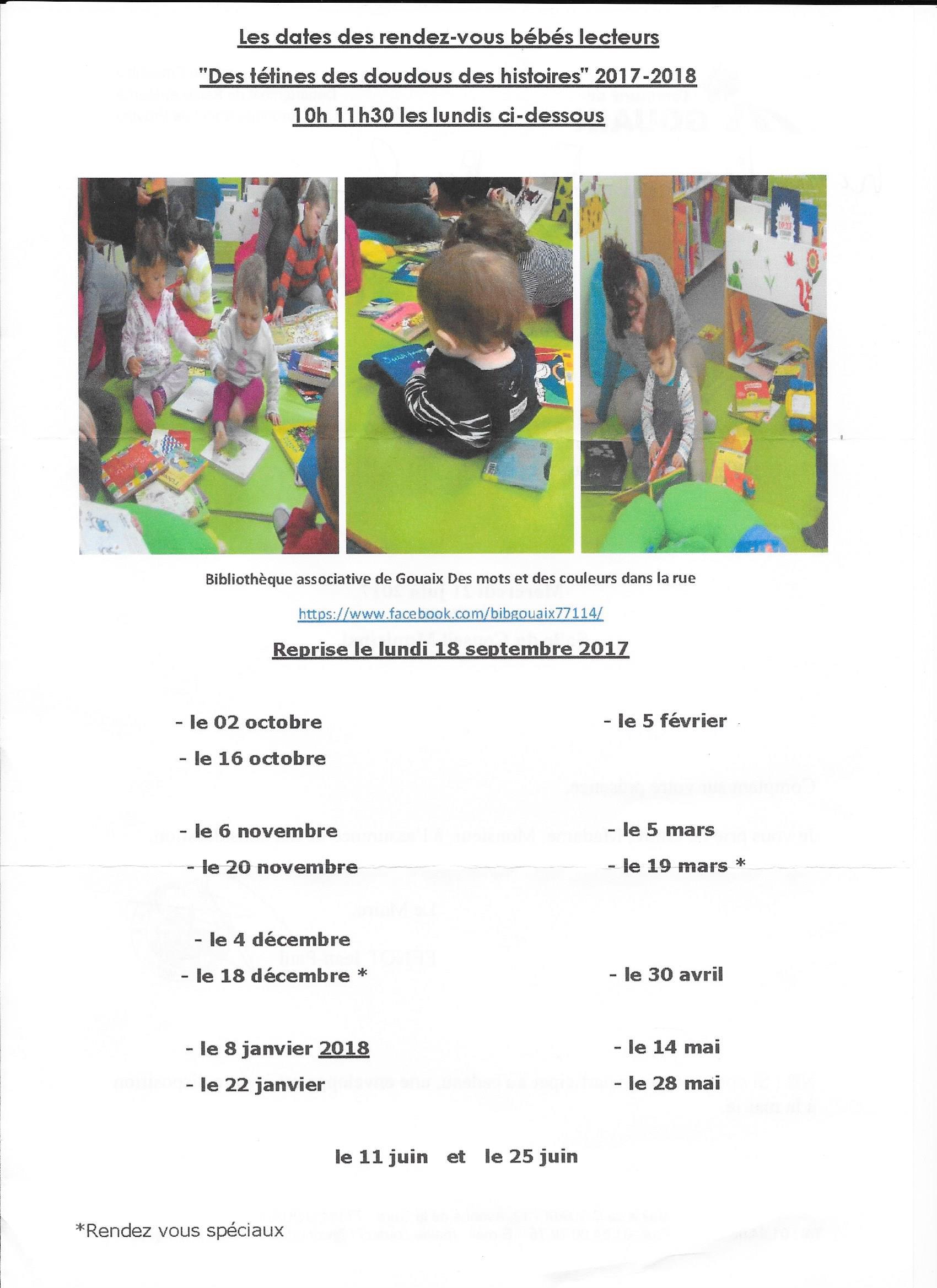 Les rendez-vous bébés lecteurs 2017/2018