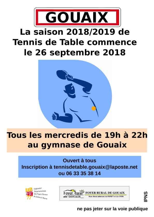 Tennis de table au gymnase à Gouaix de 17h à 18h30 pour les enfants et 18h30 à 22h pour les adultes