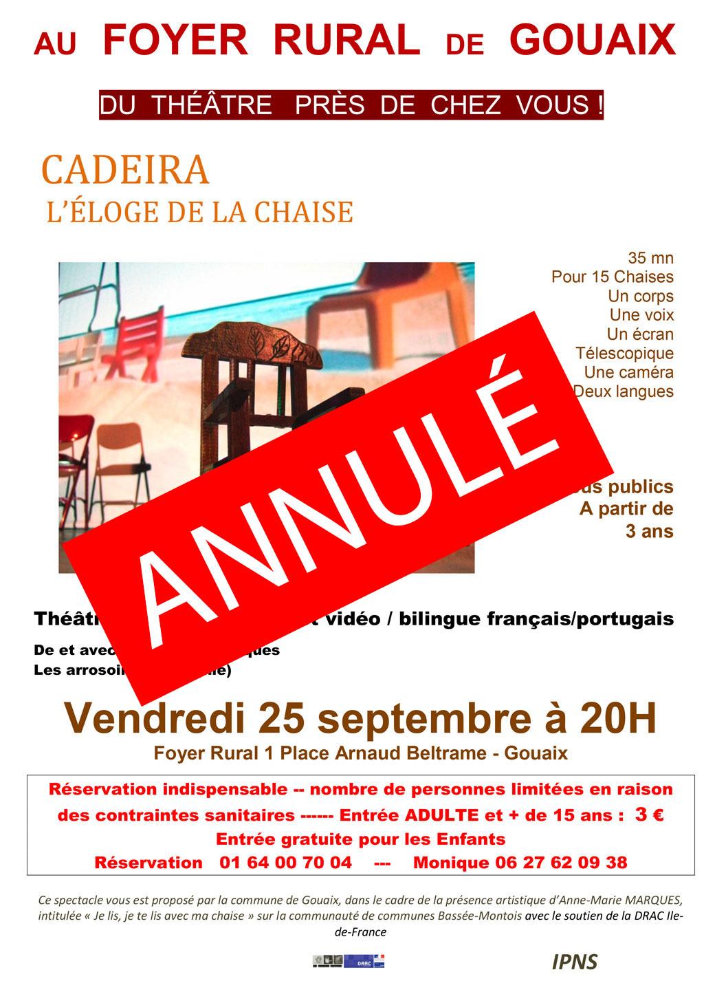 Théatre - CADEIRA L'ÉLOGE DE LA CHAISE